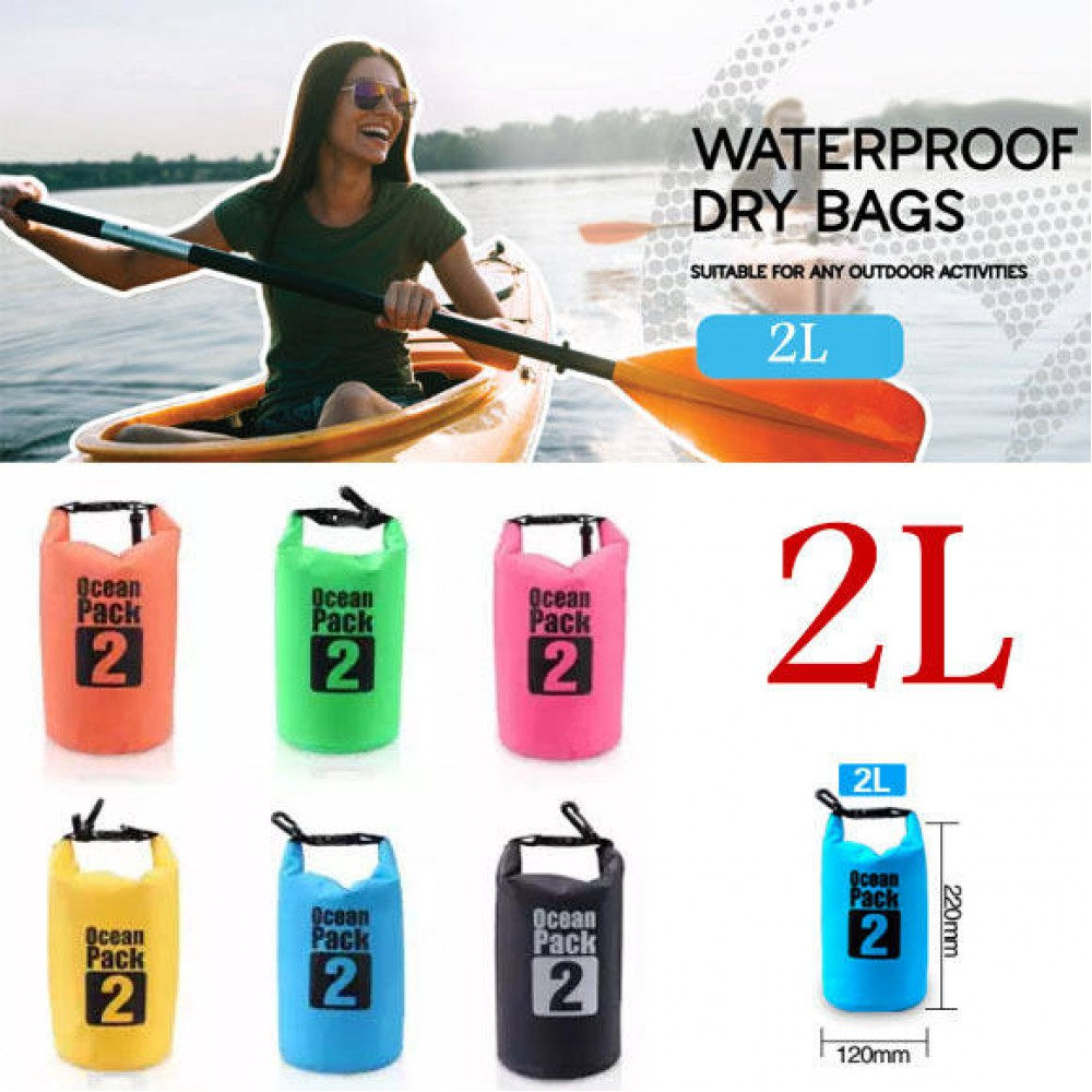 2L Sports Waterproof Dry Bag Backpack Floating Boating Kayaking Camping White